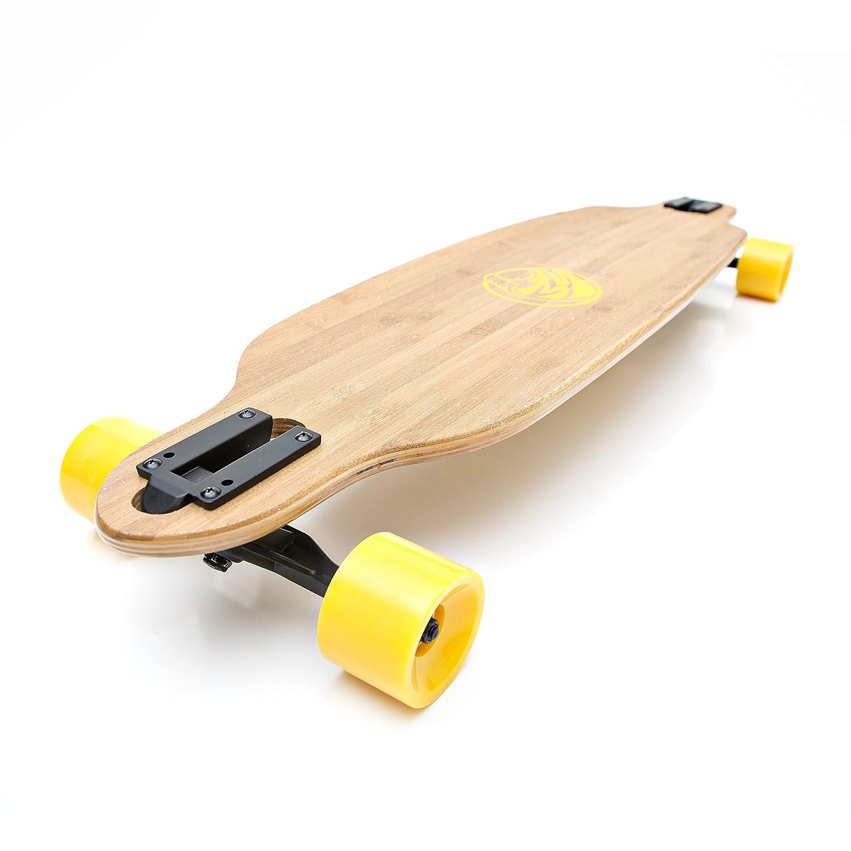 bamboo longboard with yellow wheels