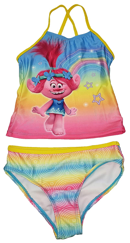 Girls Trolls Rainbow 2 Piece Tankini Swimsuit
