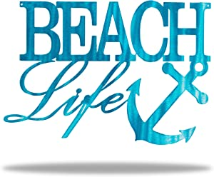 Riverside Designs Beach Life Metal Sign | UV Protected Powder Coat. Rust Resistant | 11.5 inches x 8 inches | Steel Home Decor Sign (Translucent Teal)