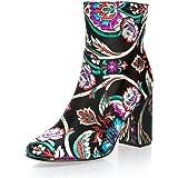 MForshop stivaletti tronchetto scarpe donna ricamo floreale fiori tacco 9 x7001