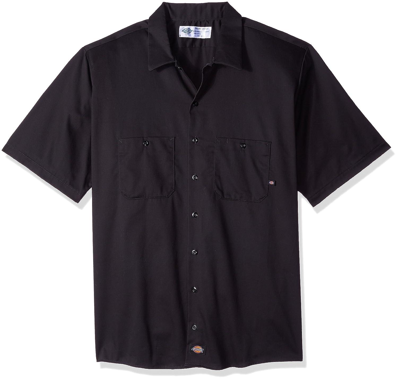 Medium Dickies Occupational Workwear LS307BK M Cotton Mens Short Sleeve Industrial Work Shirt Black