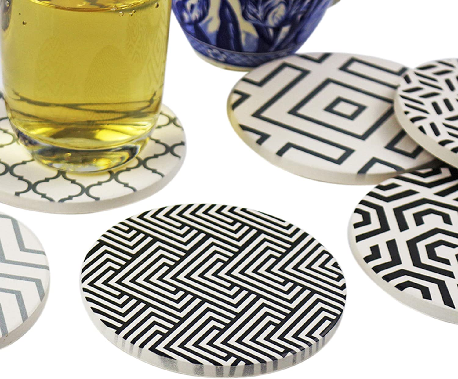 Absorbent coasters for drinks with cork back, used on coffee tables for living room as kitchen mat, home decor, living room decor, office decor, desk decor and housewarming gifts