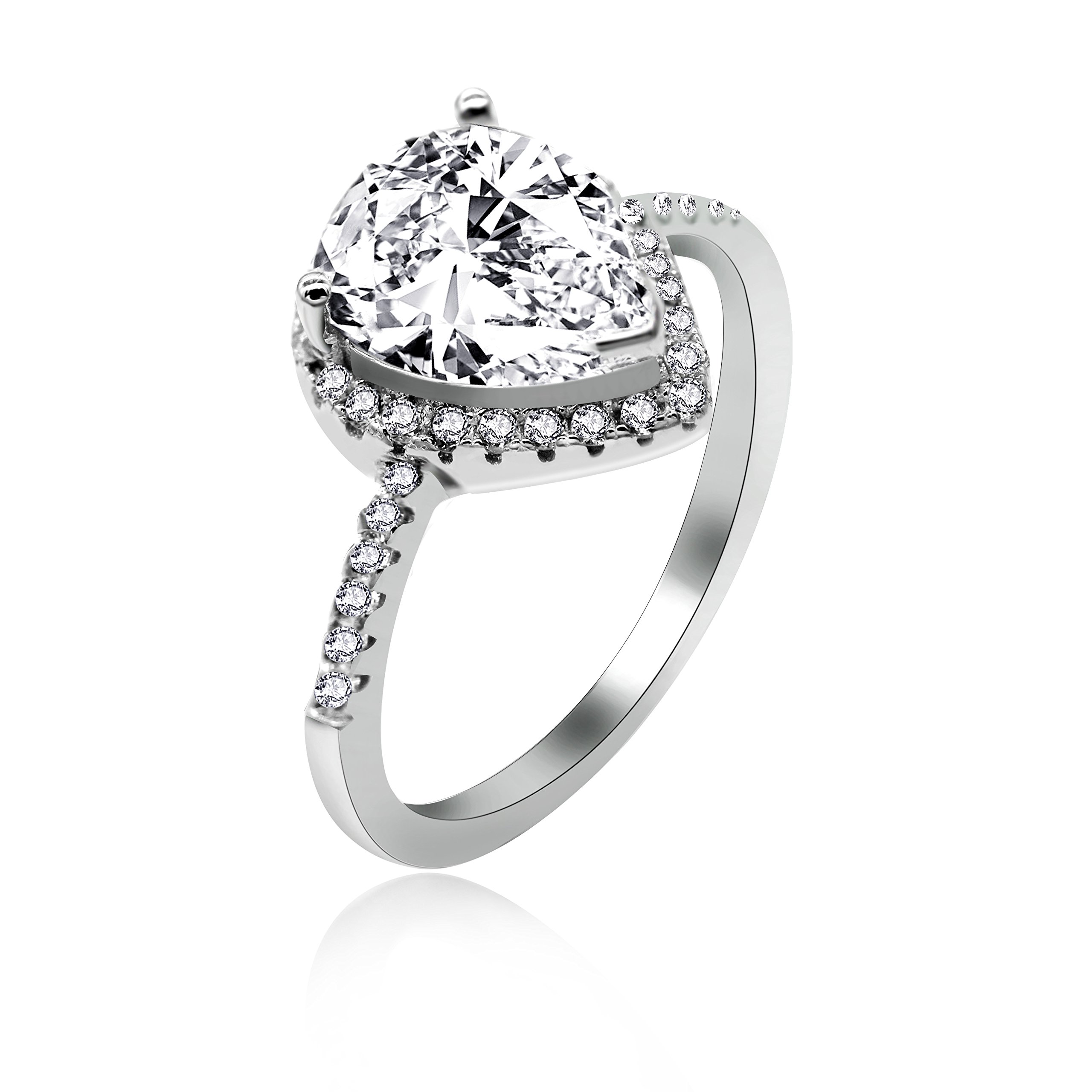 Uloveido 925 Sterling Silver Heart Shaped White Cubic Zirconia CZ Halo Promise Engagement Ring for Her (White, Size 8) JZ116