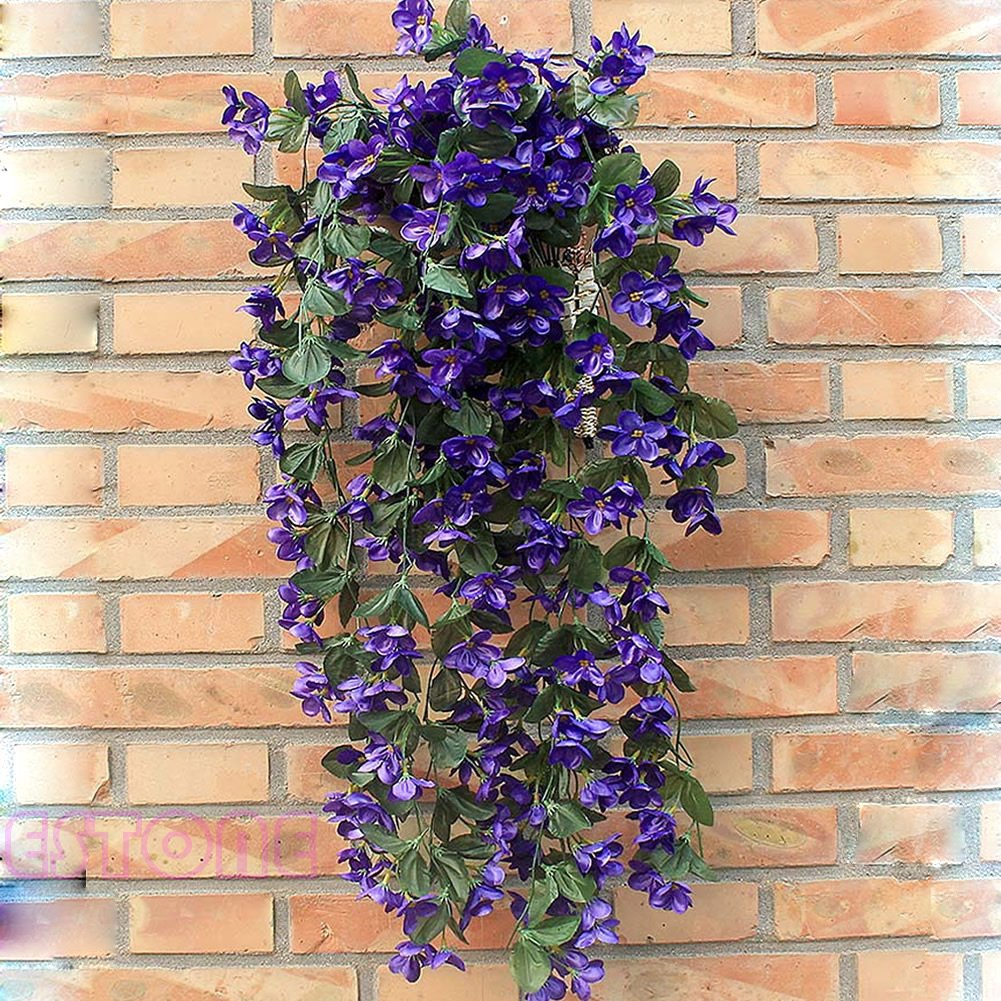 Techinal Artificial Violets Flowers, Hanging Garland Artificial Fake Violet Hanging Home Wedding Decor Vine Flowers (Blue)