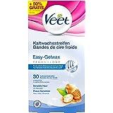 Veet Easy-Gelwax Technology Kaltwachsstreifen für Sensible Haut, Vorteilspack, 30 Stück (10 Stück gratis)