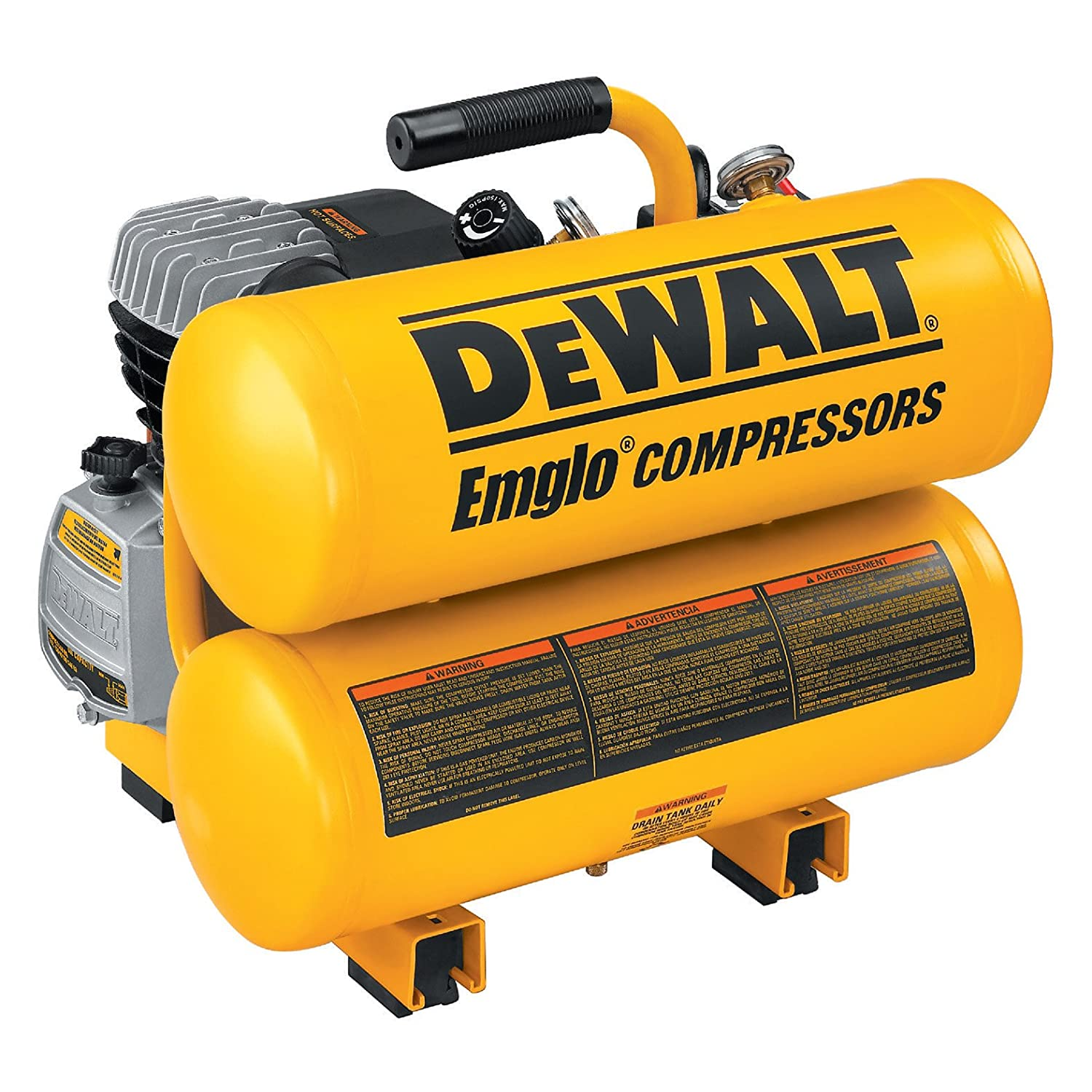 Amazon.com: DEWALT D55153 15 Amp 1-Horsepower 4 Gallon Oiled Twin Hot Dog  Compressor: Home Improvement