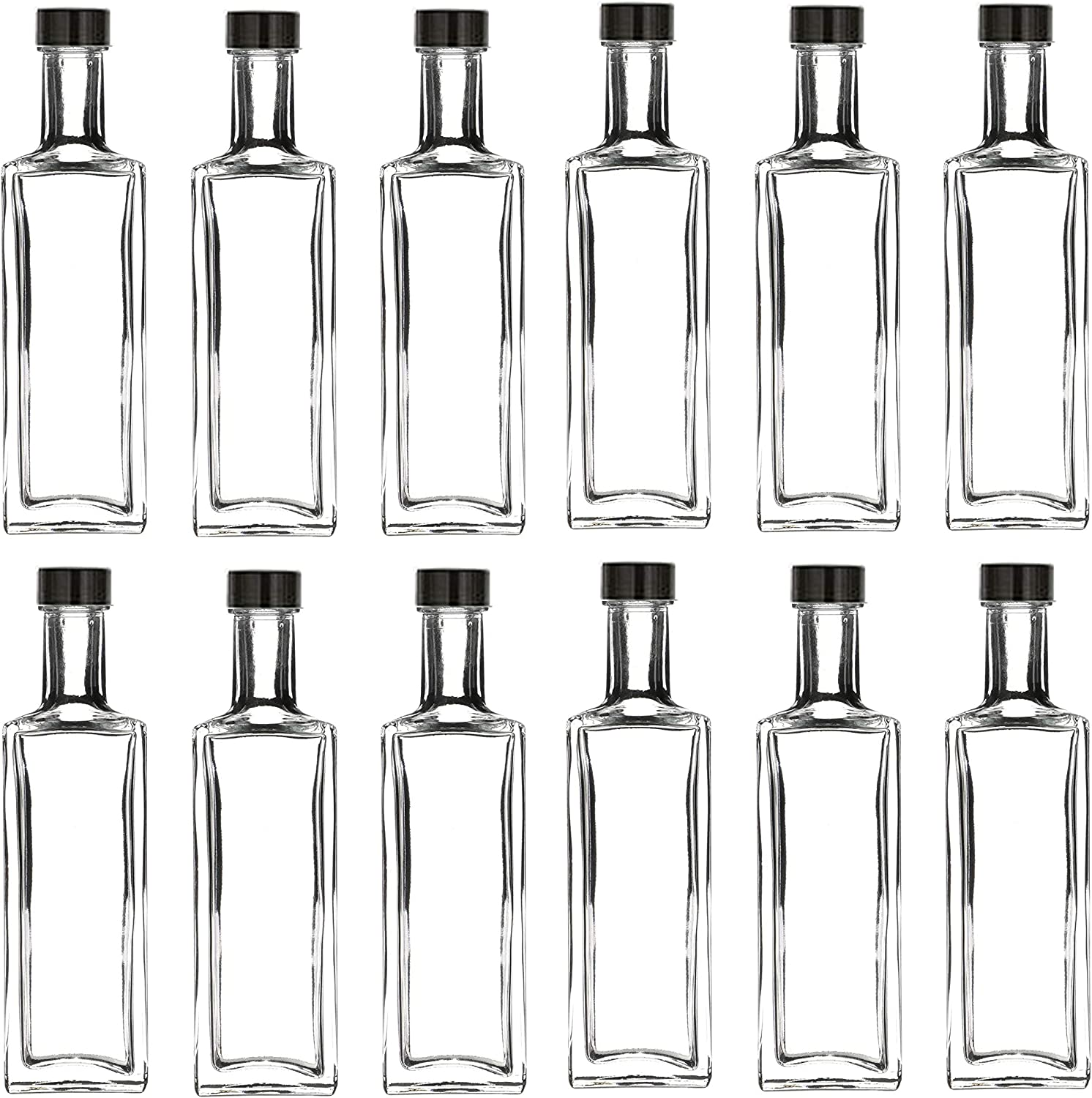 Nakpunar 12 pcs 50 ml Mini Glass Liquor Bottles with Caps, Made in the USA (12, Black - Liberty)
