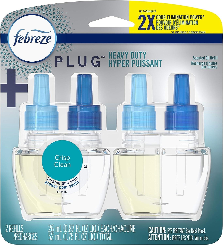 Febreze Plug in Air Fresheners, Heavy Duty Crisp Clean, Odor Eliminator, Scented Oil Refill, 2 Count