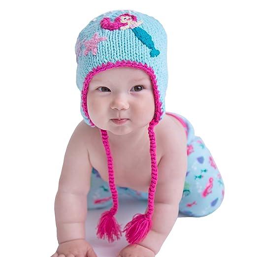 3e04a1773cb Amazon.com  Huggalugs Baby and Toddler Girls Aqua Mermaid Knit ...