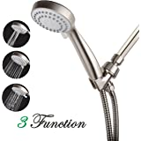 KASUNY High Pressure Handheld Shower Head Set Suit for Low Water Pressure Condition with 6.5 Feet Long Hose Shower Bracket and Teflon Tape-Brushed Nickel