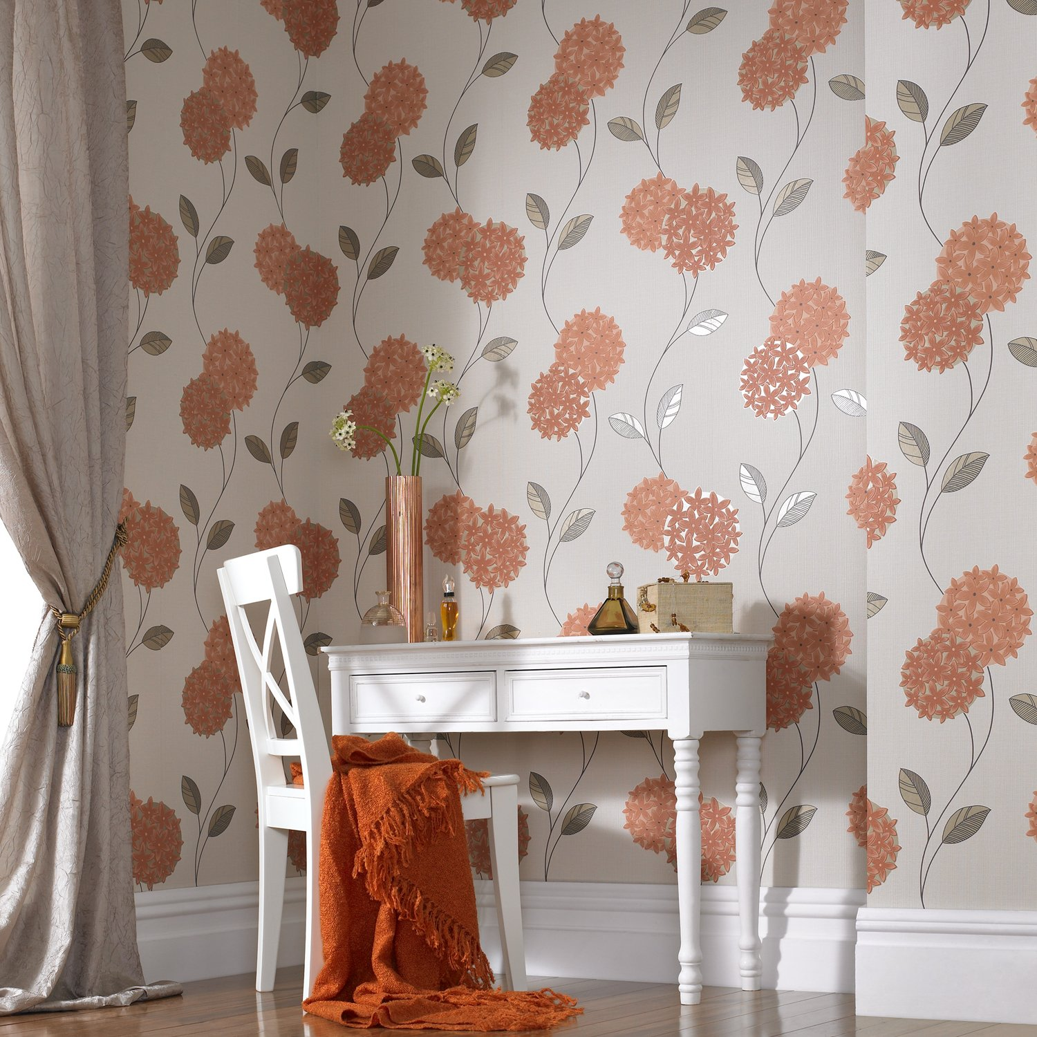 dise/ño floral Papel pintado color naranja SUPERFRESCO PIPPA