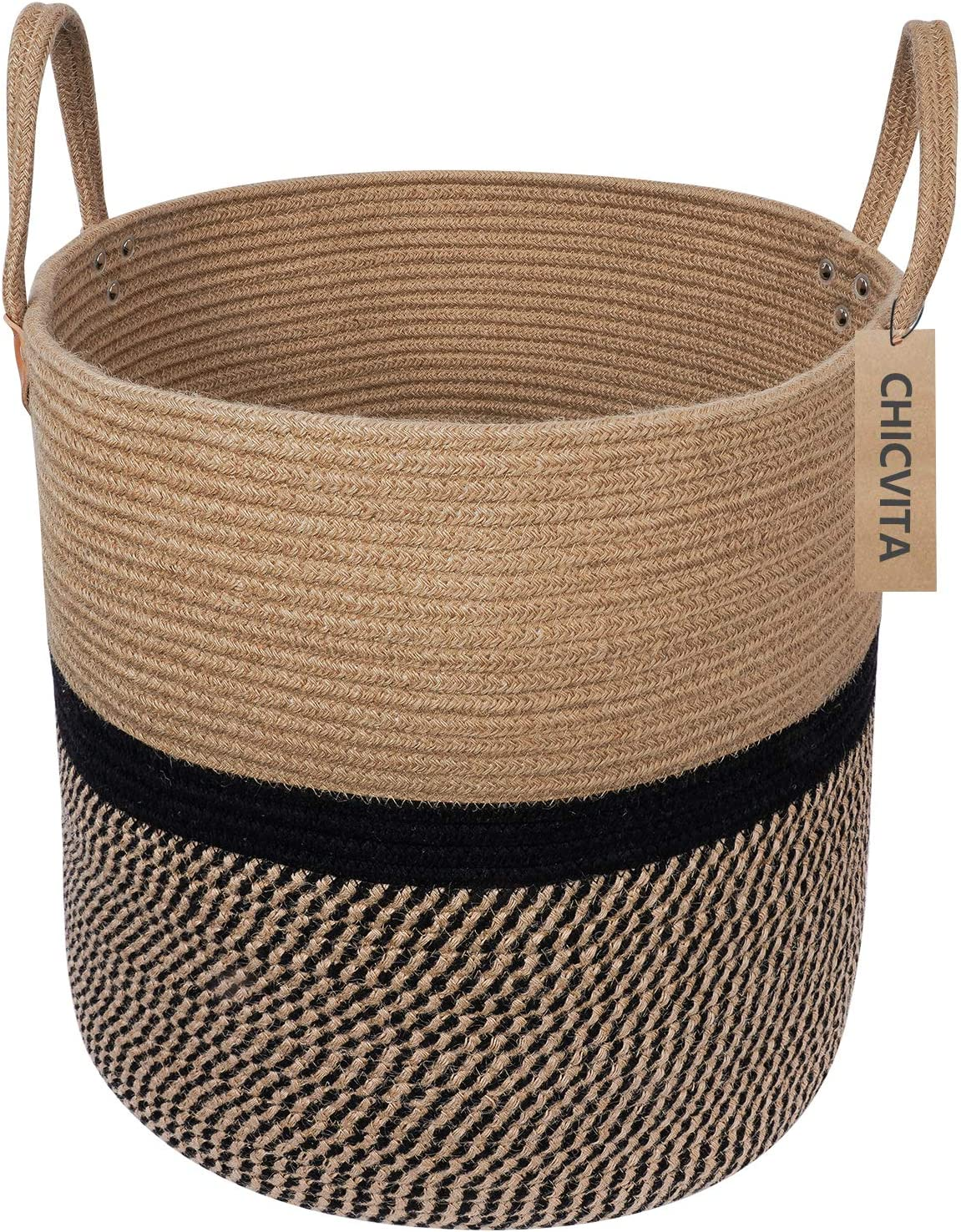 "CHICVITA Extra Large Jute Basket Woven Storage Basket with Handles – Natural Laundry Basket Toy Towels Blanket Basket Home Decor Gift, 16"" x 16"", Black"