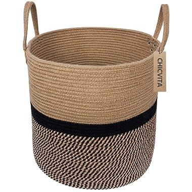 CHICVITA Extra Large Jute Basket Woven Storage Basket with Handles – Natural Laundry Basket Toy Towels Blanket Basket Home Decor Gift, 16  x 16 , Black