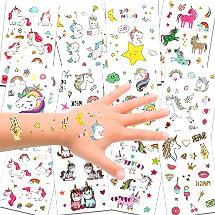 6f88db7170cfe Unicorn Temporary Tattoos for Children Kids Girls(Over 300pcs),Konsait  Great Girls Fake