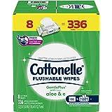 Flushable Wet Wipes, Cottonelle GentlePlus, Biodegradable & Septic Safe, 8 Flip-Top Packs of 42 (336 Wipes)