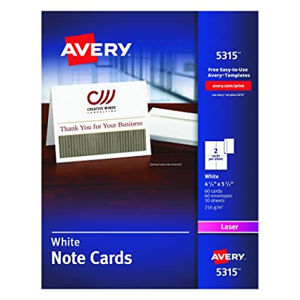 Amazon Avery White 4 14 X 5 12 Laser Note Cards 2 Cards