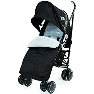 Zeta Citi Stroller Buggy Pushchair - Black (Complete With Footmuff + Raincover)