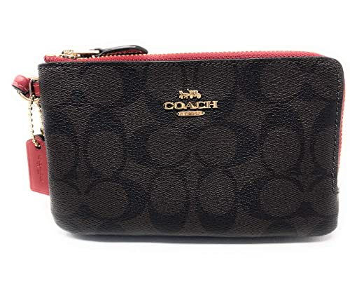 85e00ff212656 Coach Double Corner Zip Wallet In Signature Coated Canvas IM OG7 Brown Ruby