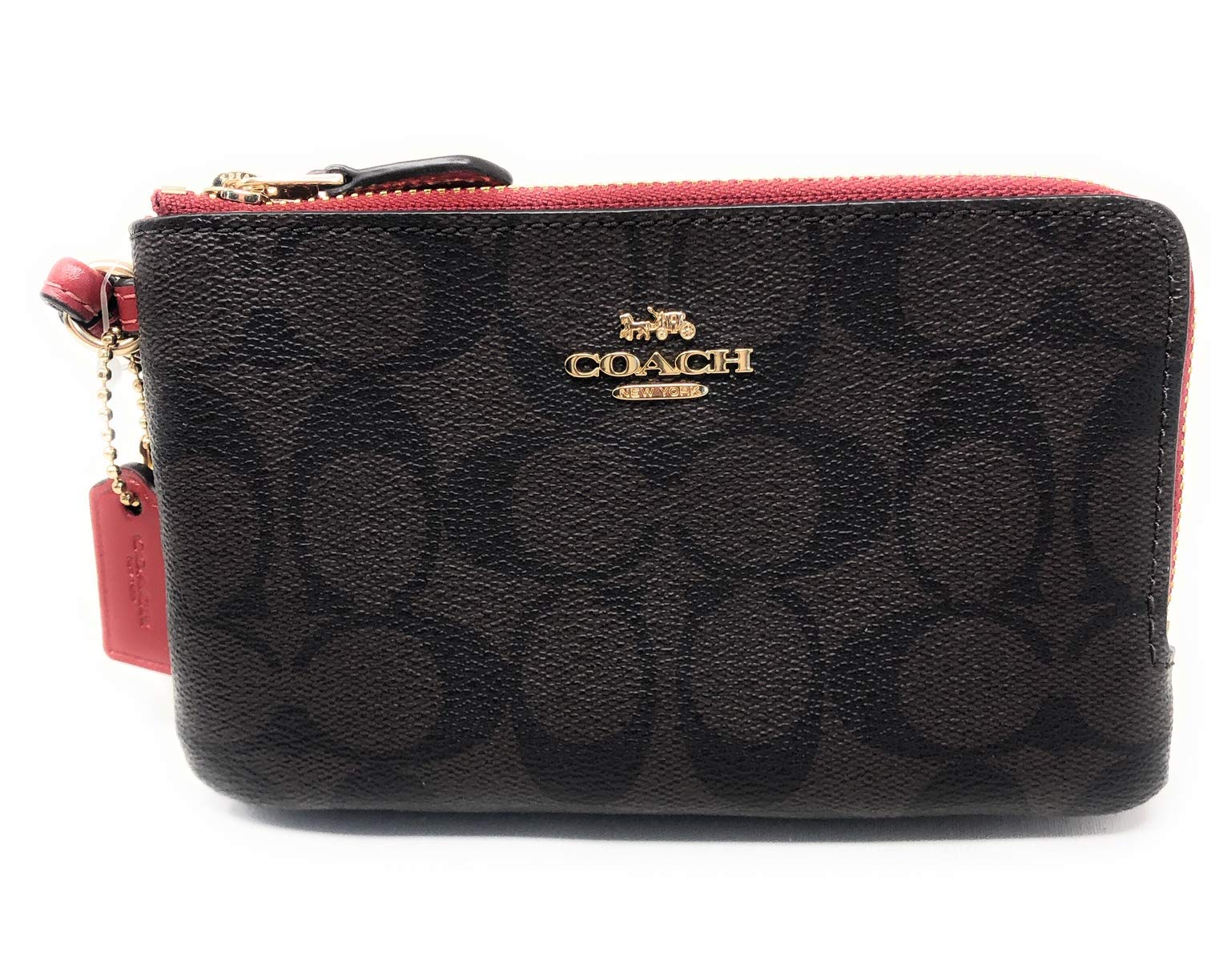 Coach Double Corner Zip Wallet In Signature Coated Canvas IM/OG7 Brown/Ruby