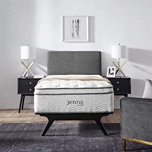 "Modway Jenna 14"" Quilted Pillow Top Twin Innerspring Mattress - Individually Encased Pocket Coils"
