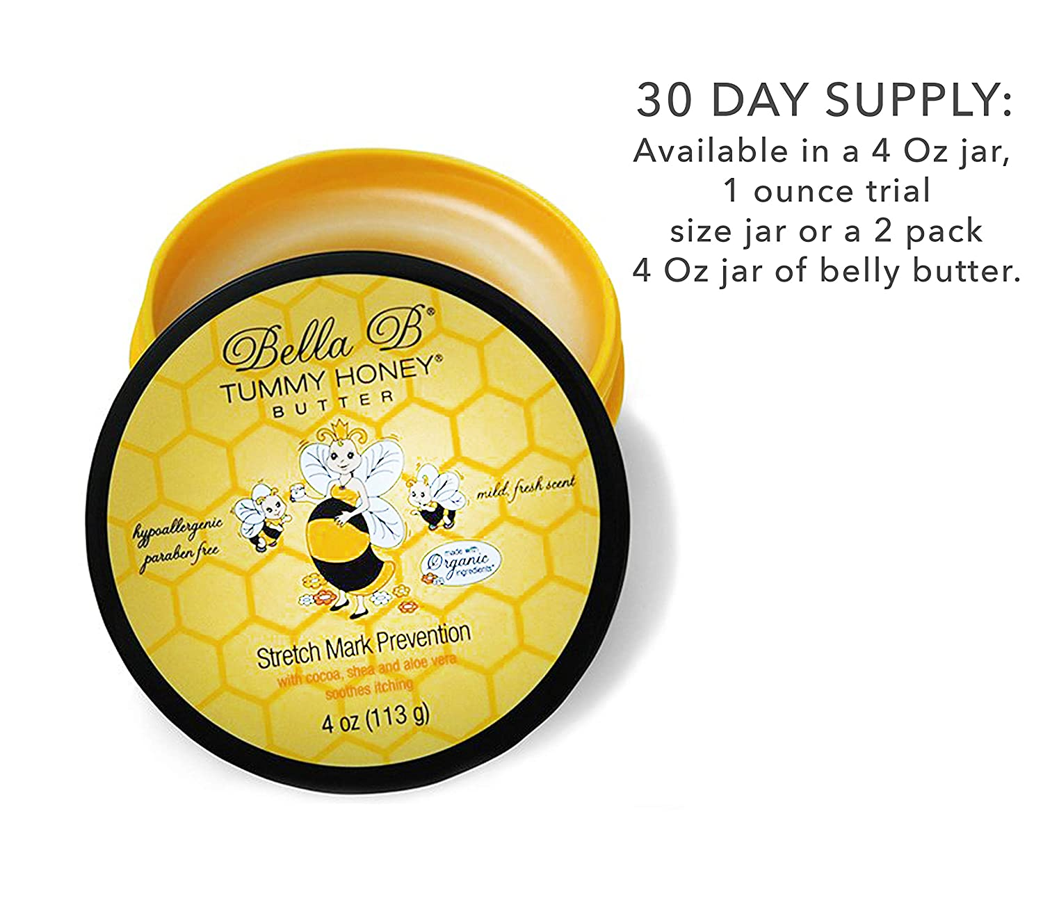 Amazon Com Bella B Tummy Honey Butter 4 Oz 1 Pack Tummy Butter With Natural Organic Ingredients Pregnancy Baby Safe Use Daily For Fading Stretch Marks Maternity Skin Care Products Beauty
