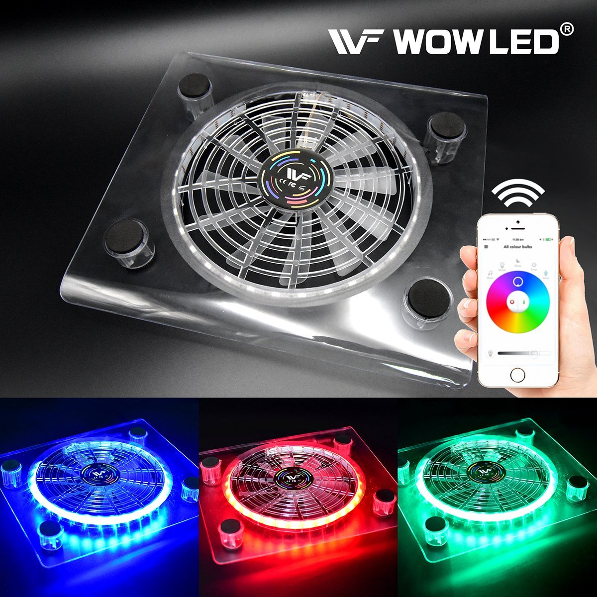 Wowled Bluetooth Wireless Control Pc Case Cooling Fan Usb Rgb Led Pad Cooler Laptop Notebook Computer