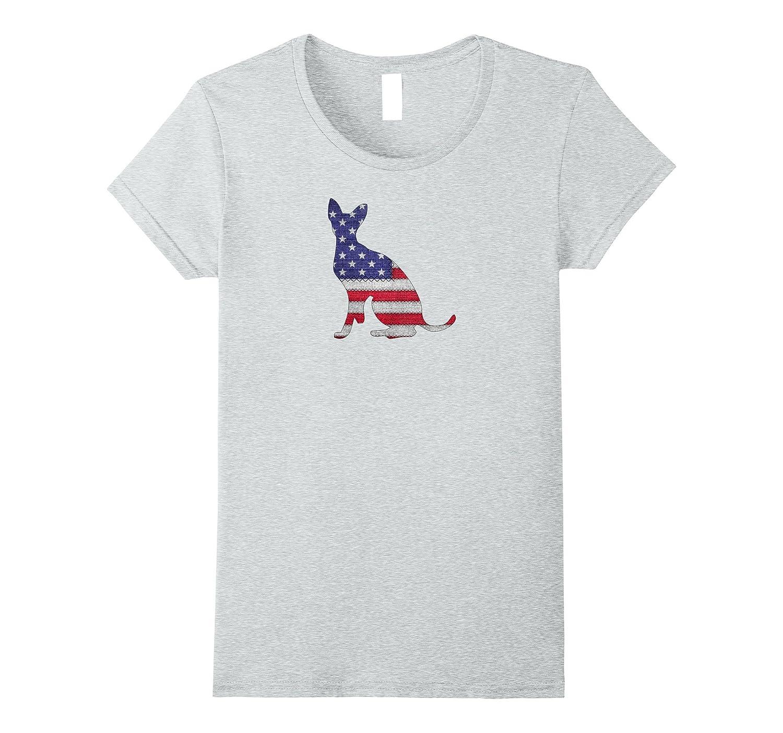 Patriotic DEVON REX American Flag Embroidery T-Shirt