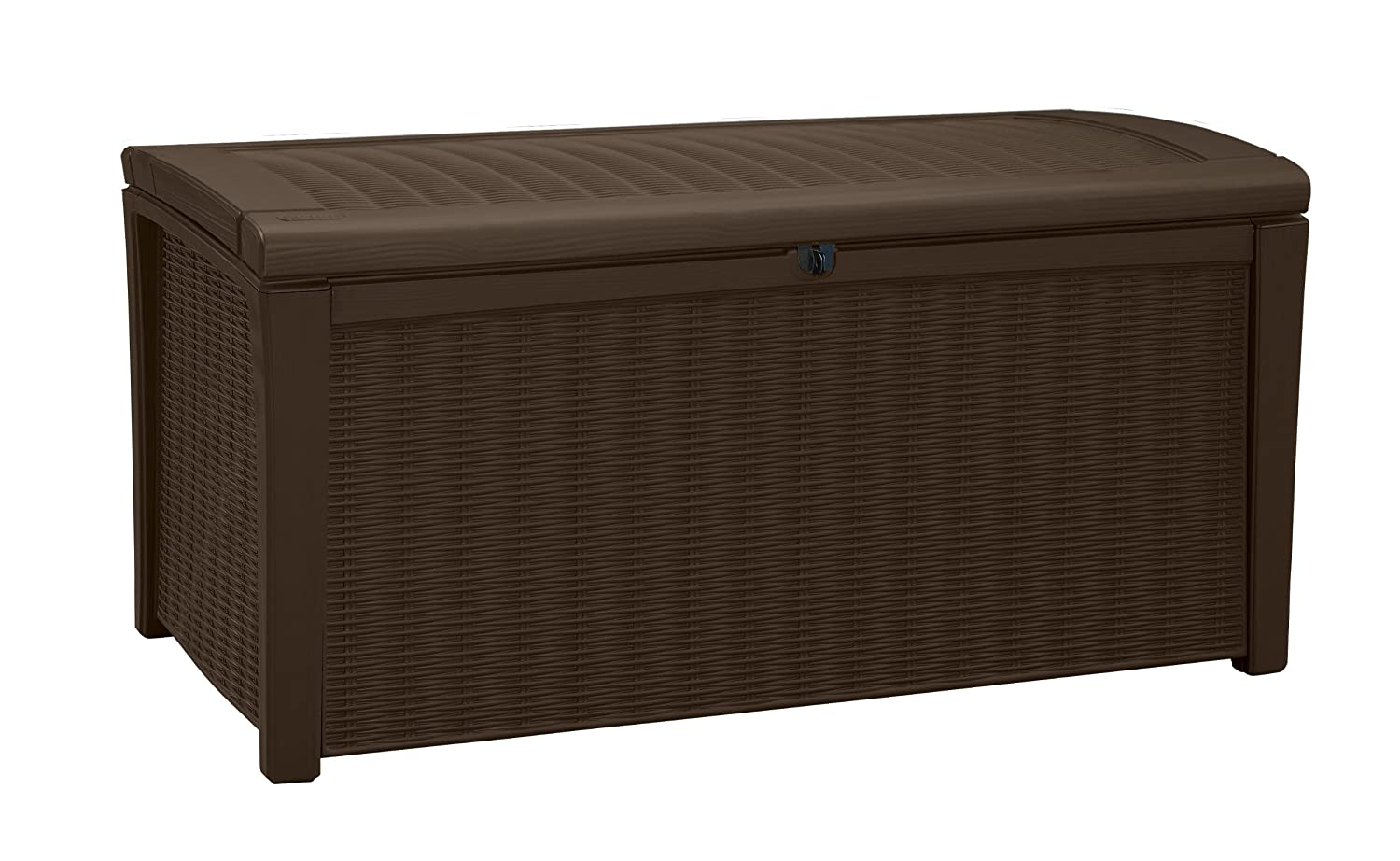 Keter Borneo 110 Gal. Plastic Outdoor Patio Storage Container Deck Box & Garden Bench, Brown 211359