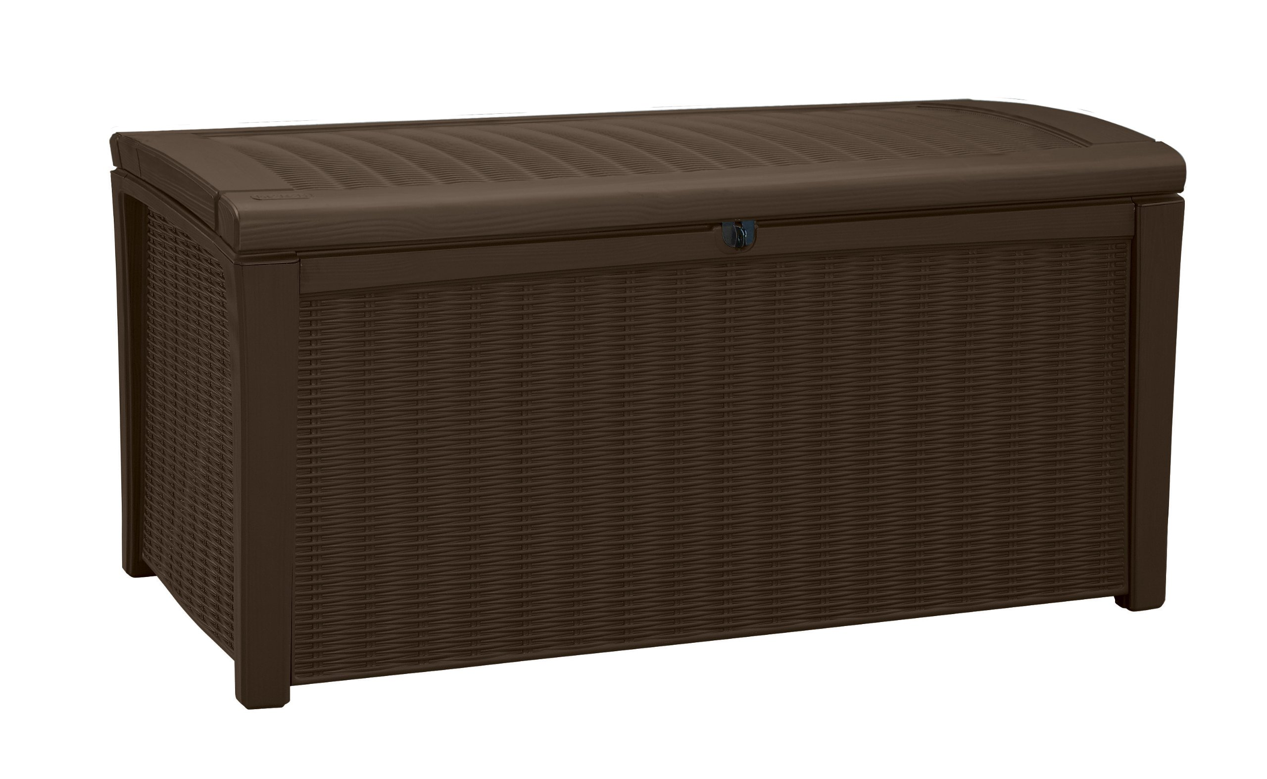 Keter Borneo 110 Gal. Plastic Outdoor Patio Storage Container Deck Box & Garden Bench, Brown