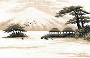 "Hand Embroidery Kit for Adults 'Fujiyama' - 11""?7.1"", 16-ct Aida Cloth - Counted Cross Stitch Set with Japanese Fuji Mountain Landscape Pattern, Housewarming Gift for Home Decor"