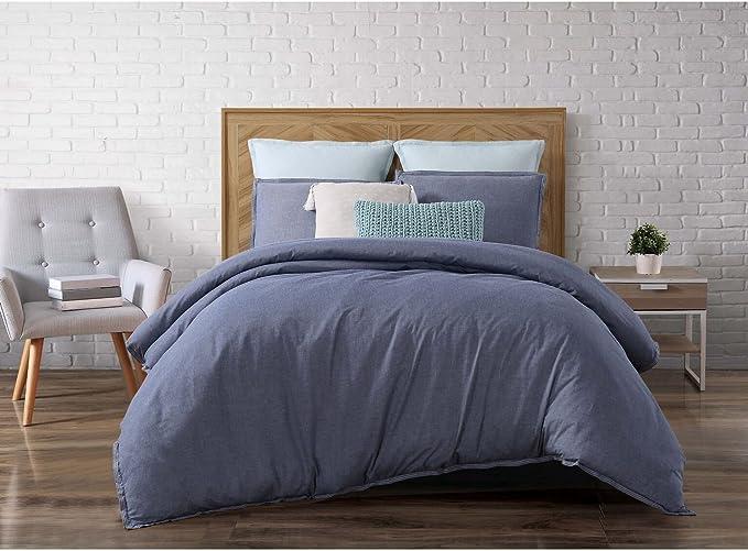 Brooklyn Loom Chambray Loft Comforter Set Twin Twin X Large Blue Home Kitchen Amazon Com