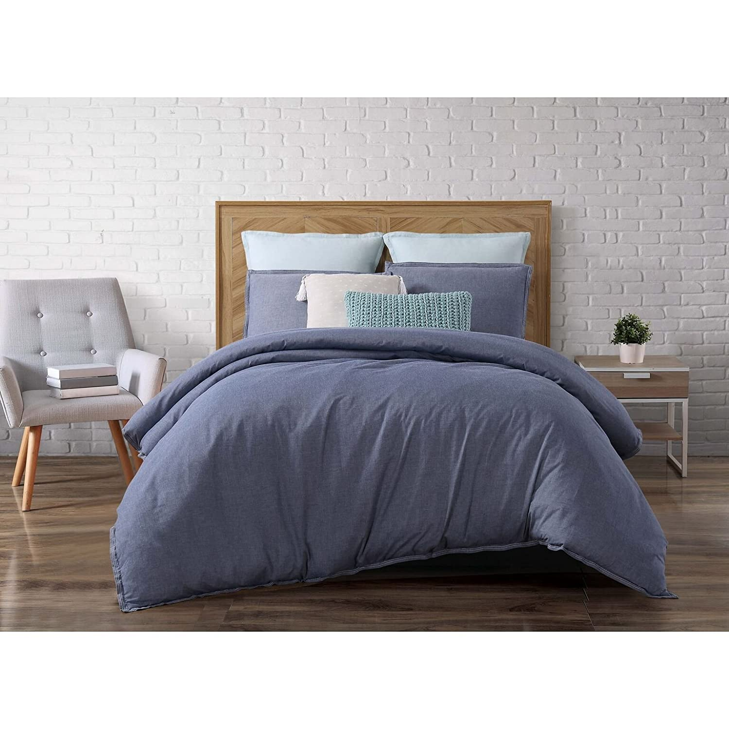 and kitchen dp chambray reversible home amazon cotton check woven co duvet uk cover set double striped blue jakarta cream