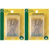 Dritz 3035 Crystal Glass Head Pins, 1-7/8-Inch (100-Count) Pack of 2