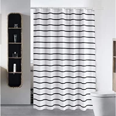 S·Lattye Shower Curtain Liner for Bathroom Water Repellent Fabric Washable Cloth (Hotel Quality, Friendly, Heavy Weight Hem) with White Plastic Hooks - 72  x 72 , Standard, Black Stripe
