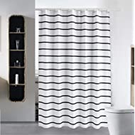 """S·Lattye Shower Curtain Liner for Bathroom Water Repellent Fabric Washable Cloth (Hotel Quality, Friendly, Heavy Weight Hem) with White Plastic Hooks - 72"""" x 72"""", Standard, Black Stripe"""