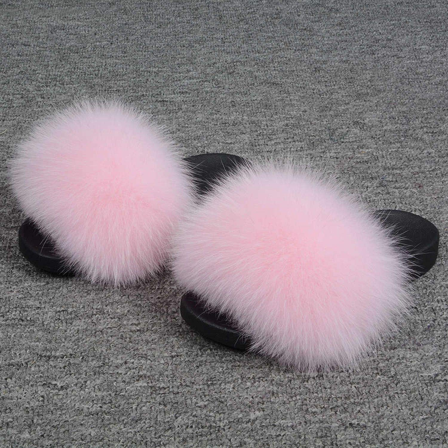 Baby Pink Blingbling-honored High end Real Fox Fur Slipper Women Slides Sliders Fashion Spring Summer Autumn Fluffy Fur Lady S6018