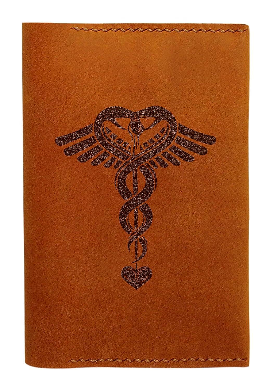 医療シンボルハンドメイド本革パスポートホルダーケースHLT _ 01 B014P3UMMI