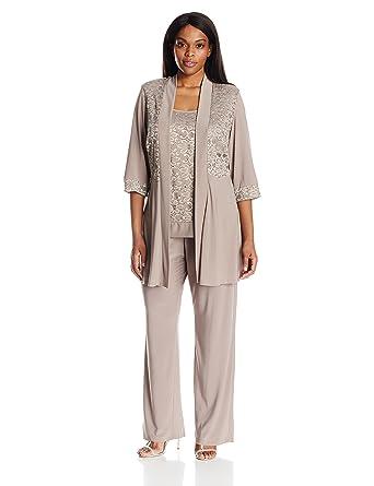 6550a8f6afe2e R&M Richards Women's Plus Size Lace Pant Set at Amazon Women's ...