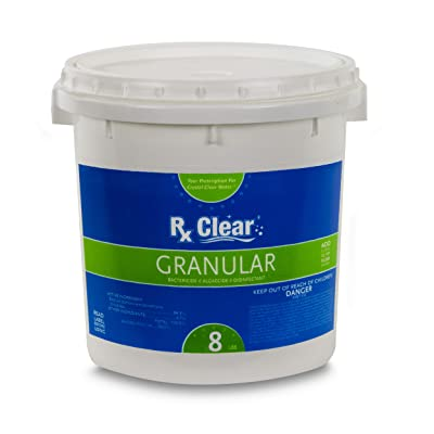 Rx Clear Stabilized Granular Chlorine | One 8-Pound Bucket | Use As Bactericide, Algaecide, and Disinfectant in Swimming Pools and Spas | Slow Dissolving and UV Protected : Garden & Outdoor