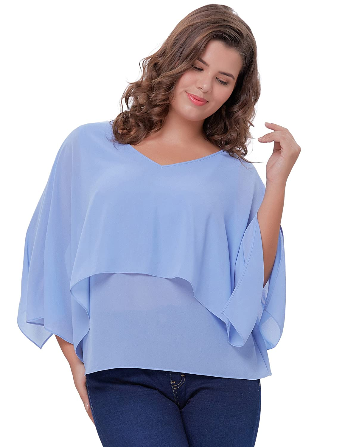 4a5e962c46eac3 Material: Chiffon V Neck, Open Sleeves(Short poncho batwing sleeve)  Cape-Like Design Light & Portable Hand Wash, Machine Washable, Do Not  Bleach, Hang Dry