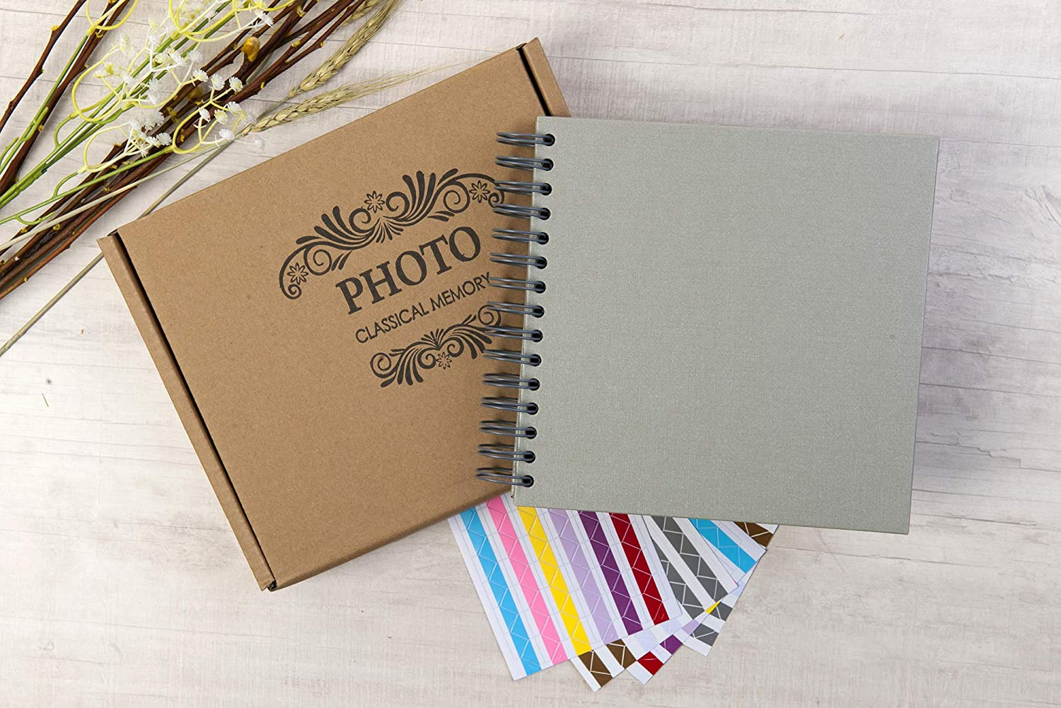 10 x 10 Inch DIY Scrapbook Photo Album Hardcover Kraft Blank Gray Page Wedding and Anniversary Family Photo Album Gray, 10 Inch