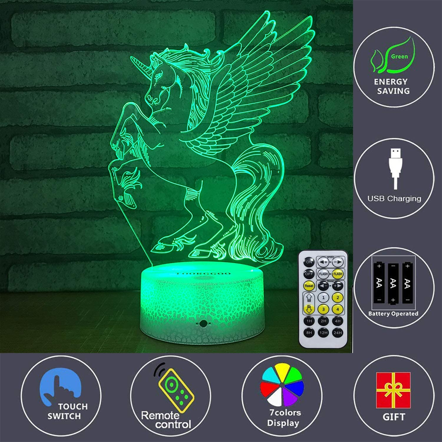 for Boy or Kids or Car Lover Creative 3D Visual Effects Room Decor. TOORGGOO Car Toy Night Light with Timer /& Remote /& Smart Touch 7 Color Change Car