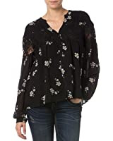 Miss Me Women's Lace Floral Button Down Top - Mdt1254l Multi Blk