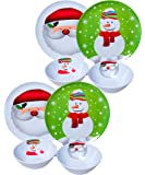 "Set of 8 Christmas / Holiday Melamine Embossed 10"" Plate and 6.5"" Bowl: Snowflake and Santa Design"