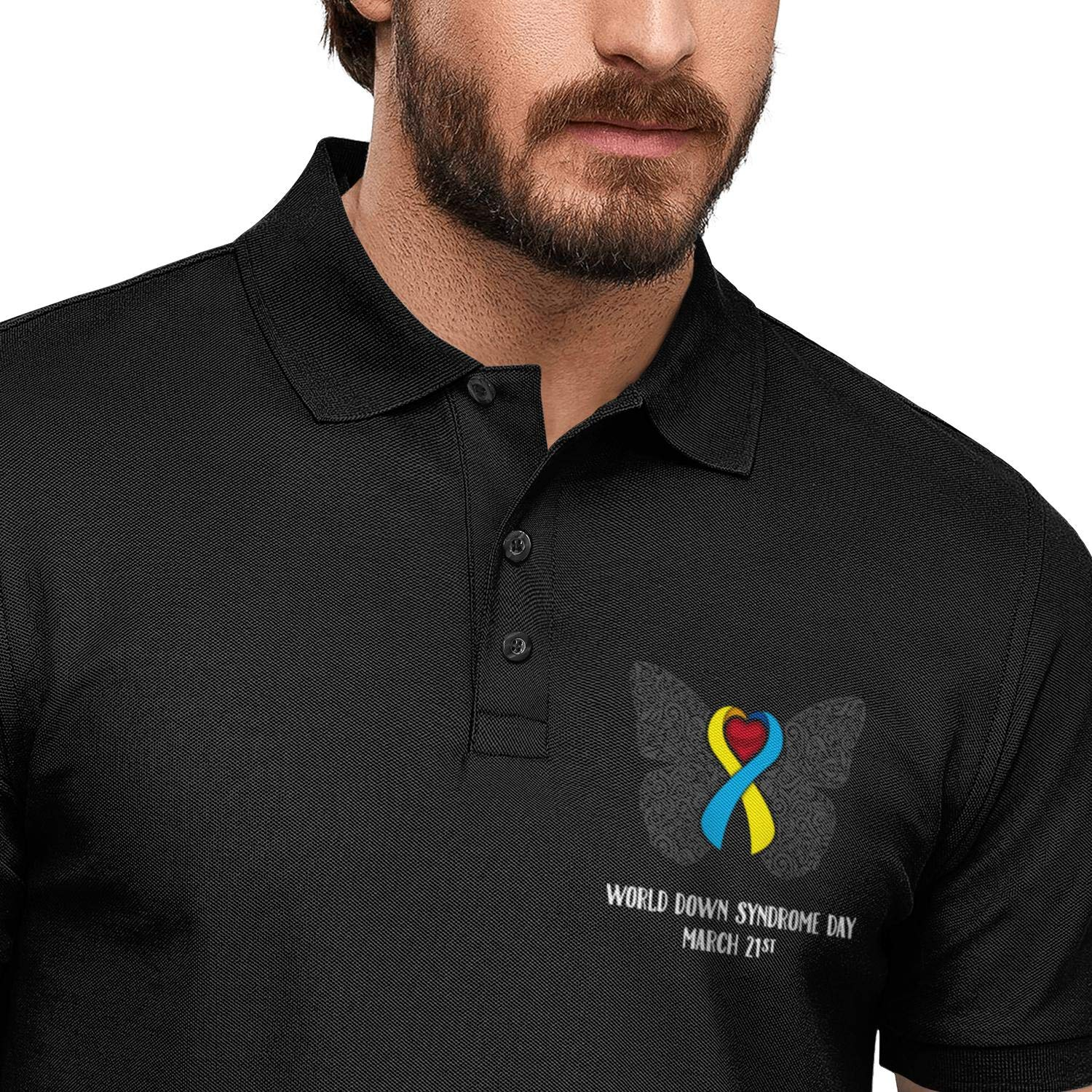 WYFEN Mens Printed Polo Shirt World Down Syndrome Day Butterfly Stylish Short Sleeve T-Shirt
