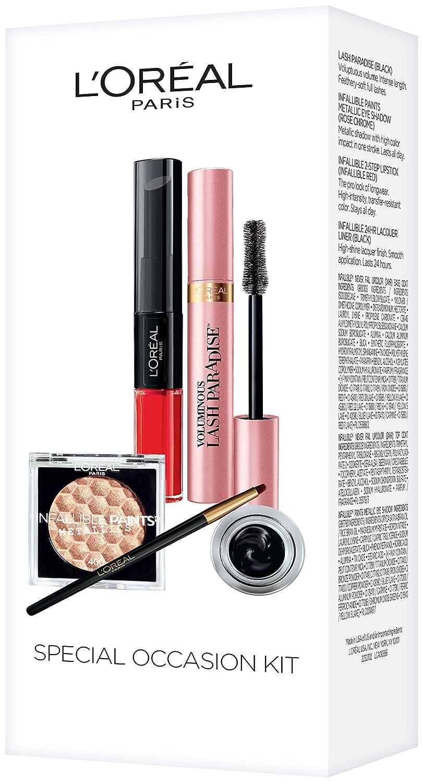 L'Oreal Paris Makeup, Lash Paradise Mascara, Infallible Paints Metallic Eye Shadow, Infallible Lacquer Eyeliner,Infallible Pro-Last 2 Step Lipstick, 4 Count