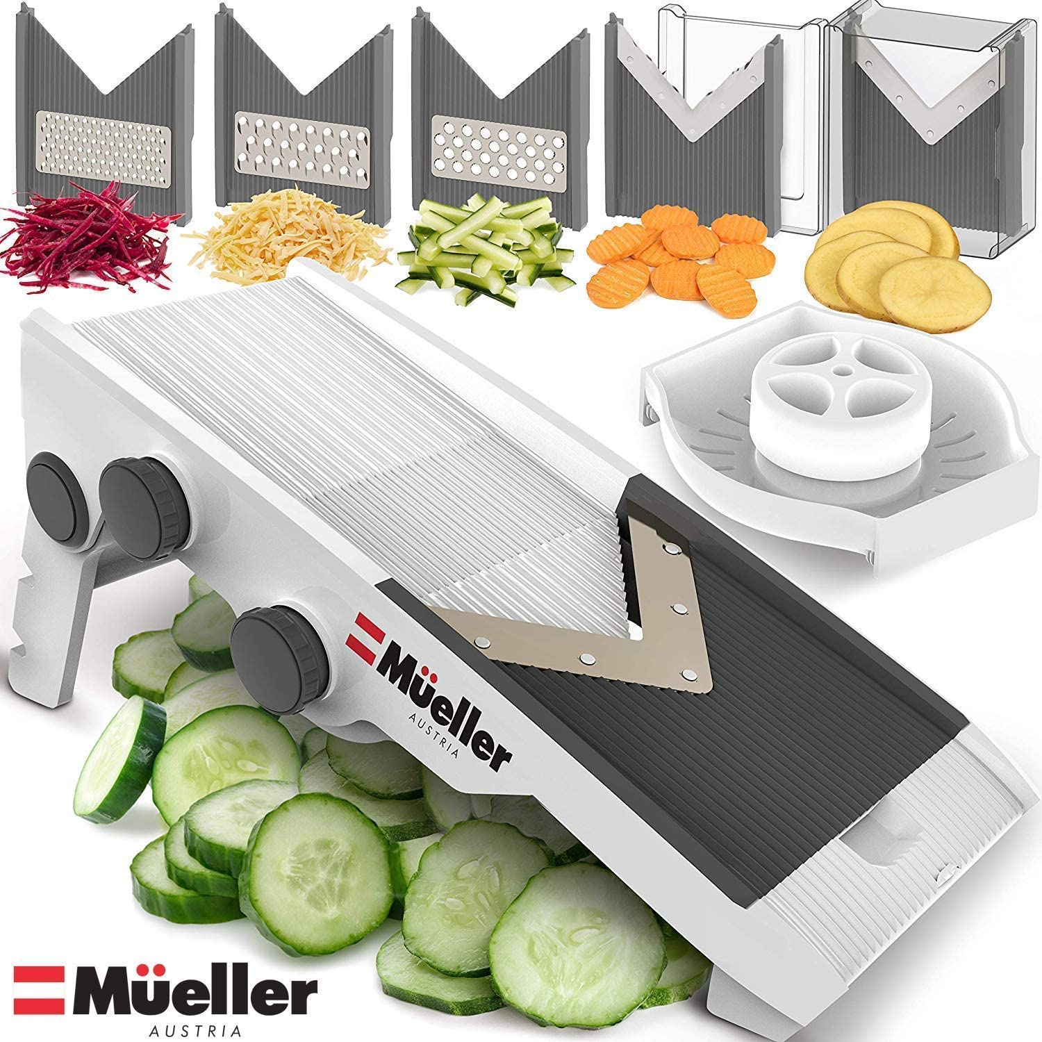 Premium V-Pro Precise Multi Blade Adjustable Mandoline, Slicer, Cutter, Shredder