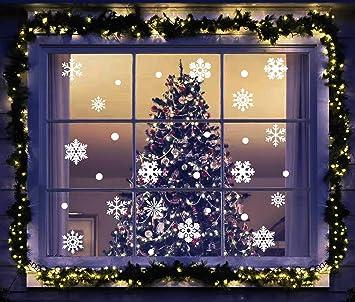 Amazoncom 220 Pcs Christmas White Snowflake Window Clings Decal