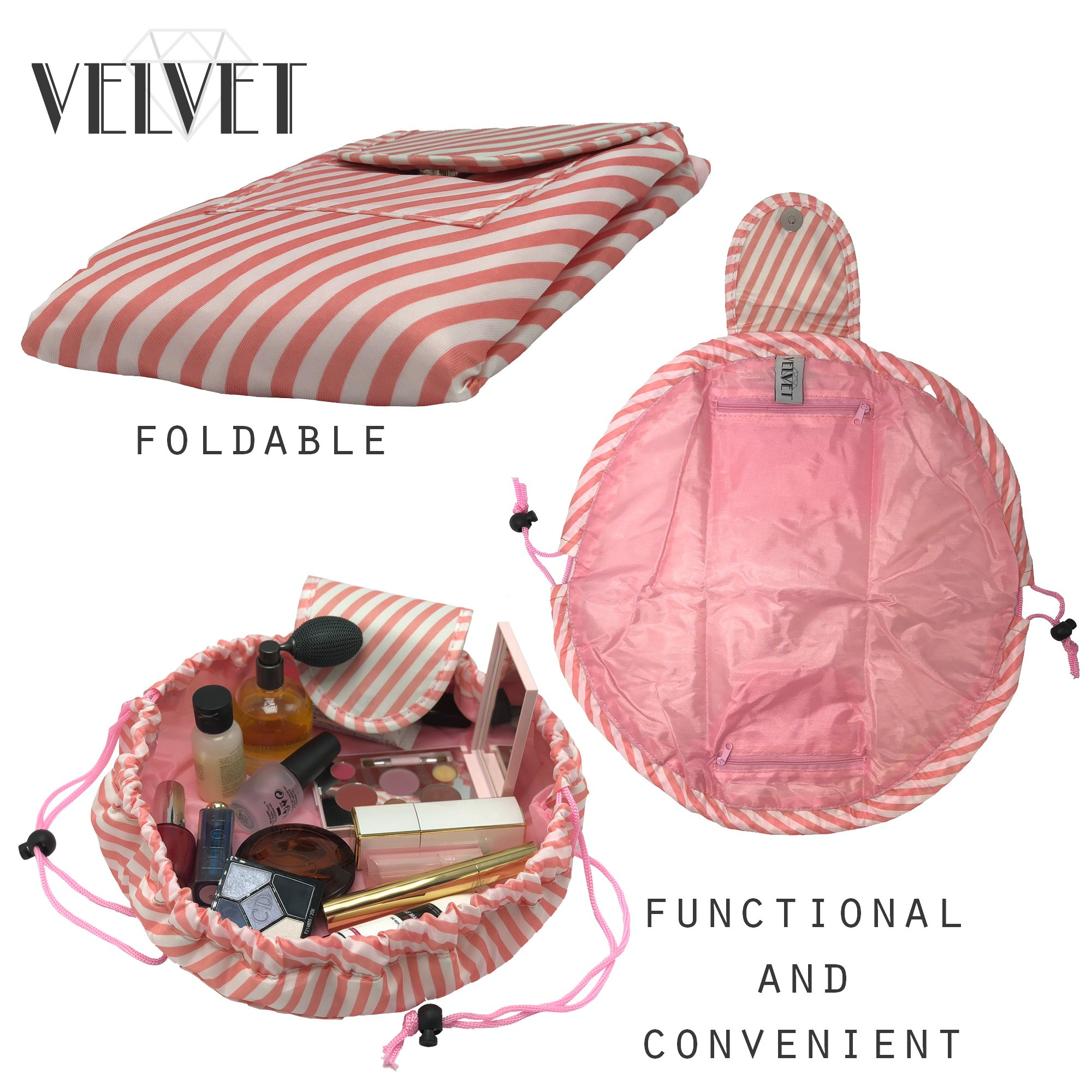 Toiletry Travel Bag   Lazy Drawstring Makeup Organizer with Magnetic Snap   Waterproof Cosmetic Pouch for Women, Men, Girls (Large 18 inches, White/Pink Stripes) by VelvetBags (Image #3)
