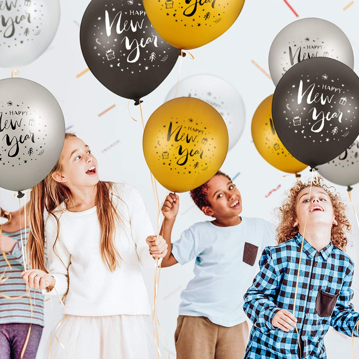 40 Pieces Happy New Year Balloons 2021 New Year Latex Balloons 12 Inches Gold Black Silver Balloons for 2021 New Year Eve Party Decorations Supplies